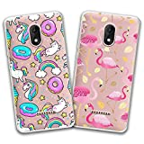 jrester 2 X Coque Wiko Jerry 3,Donut Licorne + Flamant Rose Souple Silicone TPU...