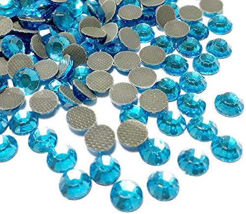 Perlin Hotfix SS20 - 1440 piedras de cristal redondas de 5 mm, piedras preciosas de 4,4 ~ 5 mm, para ropa, vestido, zapatos, bolso, decoración (azul aguamarina)