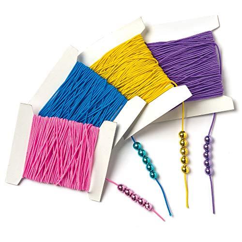 Baker Ross Cordones Elásticos de 4 Colores Variados de 10 Metros para Niños para la Creación de Pulseras, Collares y Otras Manualidades Infantiles (4 Carretes)