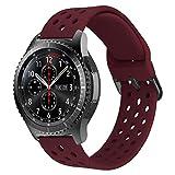 MroTech Cinturino 22 mm Compatibile per Samsung Gear S3 Frontier/Classic/Galaxy Watch 46mm/Huawei Watch 2 Classic/GT/GT Active/Elegant/GT2 46 MM Smartwatch bracciali Ricambio 22mm Gomma -Rosso Scu