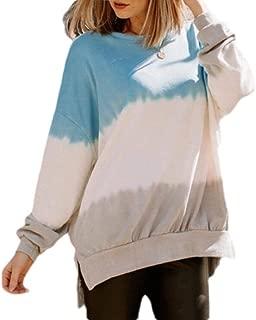 UUYUK Women Casual Crewneck Gradient Color Pullover Sweatshirt