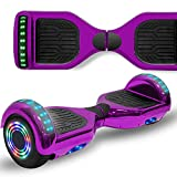 Longtime 6.5' Flashing Wheels Rechargeable Battery Self Balancing Scooter Electric Hoverboard for Kids and Adult Bluetooth Speaker LED Lights UL2272 Certified (Chrome Purple)