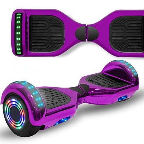 "Longtime 6.5"" Chrome Metallic Hoverboard Self Balancing Scooter with Speaker LED Lights Flashing Wheels (Metallic Purple)"