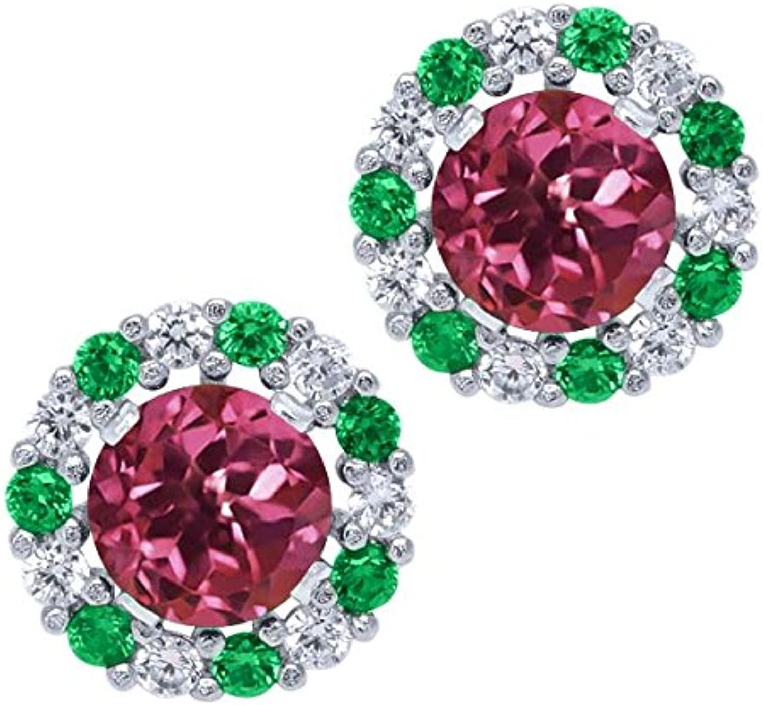 1.36 Ct Round Pink Tourmaline AAA Sterling Silver Earrings with Jackets