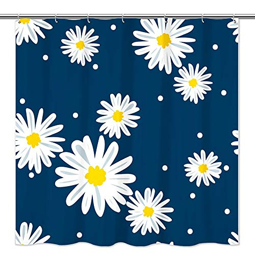 Tititex Daisy Shower Curtain Sets - Beautiful Daisy with Blue Background Bathroom Shower Curtain for Daily Life, Waterproof Polyester Fabric Bath Curtains with 12 Hooks, 69 x 70 Inches