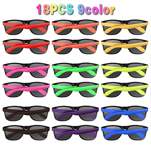 Neon Sunglasses Party Favors 18 PCS 9 Colors 80's Style for Pool Party,Beach Party,Christmas Celebration,Thanksgiving,Carnival,Graduation Party, Summer Party,Birthday Party,for Girls Boys Teens adults