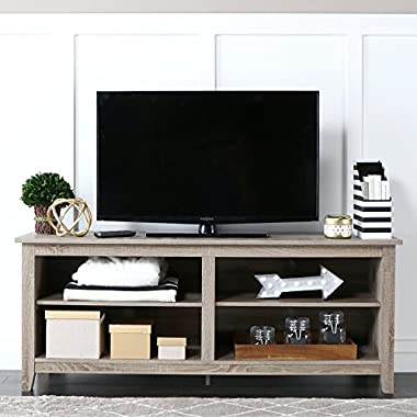 WE Furniture 58  Wood TV Stand Storage Console, Driftwood