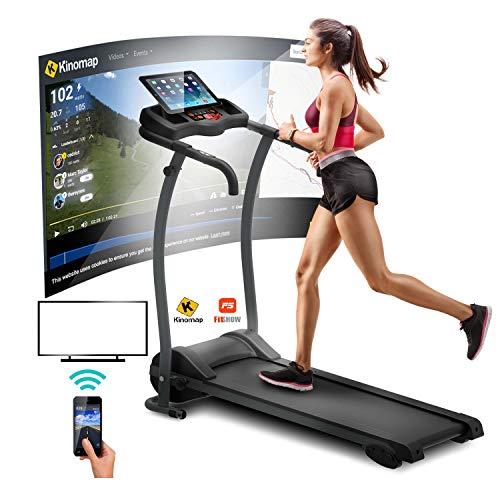 ARTGO Laufband für Zuhause Klappbar Elektrisch Höchstgeschwindigkeit 12 km/h, 12 Programme, Cardio-Sensor, Kinomap und Zwift App kompatibel, Maxy-Griffmatte, 3 manuelle Neigung, Tablet-Unterstützung