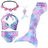 Le SSara Conjunto de 5 Piezas Colas de Sirena para Nadar Traje de Baño para Niñas Princesa Bikini 3-12 años (Sin Monofin) (DH48(PPur), 3-4 Años)