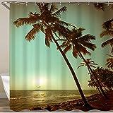 NISENASU Rideau de Douche avec 12 Crochets,Plage d'arbre,Large Choix de Beaux Rideaux de Douche,de Haute qualité,imperméable 180 * 180 cm