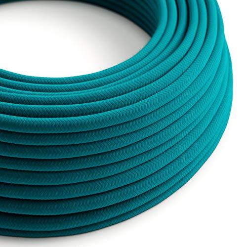 creative cables Cable eléctrico Redondo Revestido de algodón Liso Azul Cielo RC21-5...