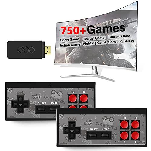 LICHUXIN Consola De Juegos Retro, Consola De Videojuegos De Alta Definición HDMI Portátil, Consola De Juegos De TV Inalámbrica Plug-and-Play con Más De 750 Juegos Clásicos De NES Incorporados