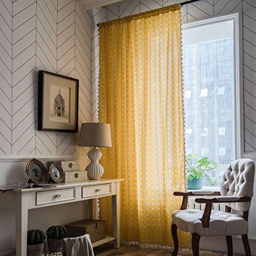 """JAIJY 2 Panels Farmhouse Bohemian Chic Geometric Plaid Curtains with Tassels Room Darkening Linen Cotton Rod Pocket Drapes Weighted Bedroom Living Room Curtain, 59""""x86"""", Yellow"""