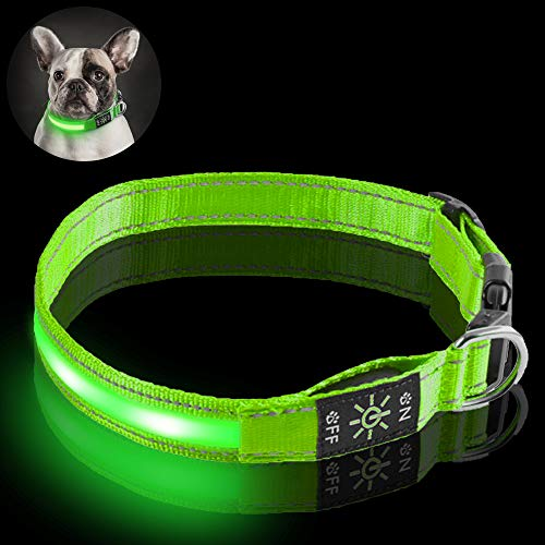 Fenley Led Dog Collar Rechargeable- Upgraded Durable 3 Mode Light Up Dog Collars for Large Medium Small Dogs- Soft Reflective Dog Collar Adjustable with Safety Buckle- Green S