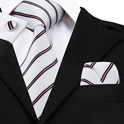 WOXHY Corbata de los Hombres 2017 Moda Blanco Negro a Rayas Corbata Hanky Gemelos Establece Corbatas de Seda para Hombres para Hombres Citas de Boda Novio Sn-647