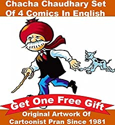 Chacha Chaudhary Comics Set of 4 Books in English + Free Gift : Original Artwork By Cartoonist Pran