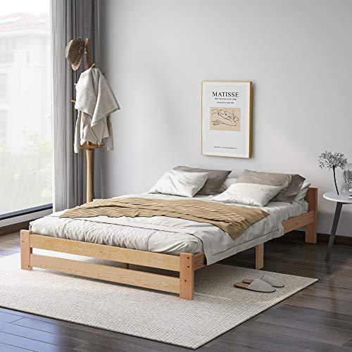 Cama de madera maciza, cama doble, futón, madera maciza, natural, cama para personas mayores, moderna de 100% madera natural con cabecero y somier, cama juvenil para dormitorio (140 x 200 cm)