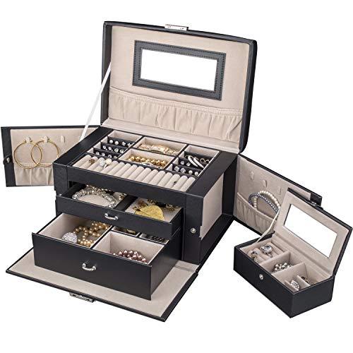 TRESKO® Caja para joyas joyero caja de joyas organizador de
