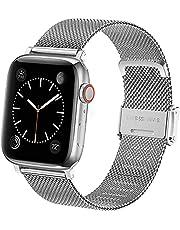 Vecann band compatibel met Apple Watch band 38 mm 42 mm 40 mm 44 mm, slanke smalle roestvrijstalen metalen gesp Verstelbare vervangende band Compatibel voor iWatch serie 6 5 4 3 2 1 SE