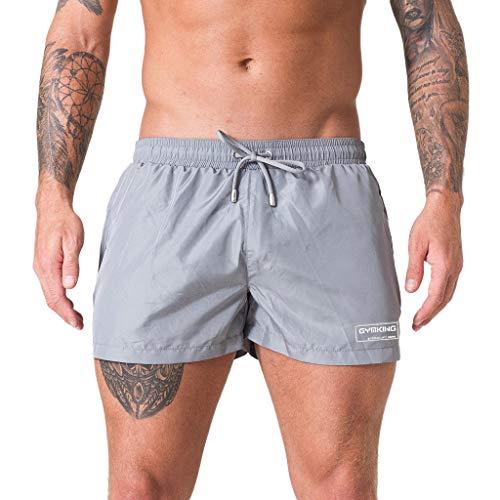 Xmiral Badehose Herren Verstellbarem Kordelzug Elastisch Taille Boxer Strandhosen Kurze Hosen Schnelltrocknend Surf Shorts Badeshorts(Grau,L)