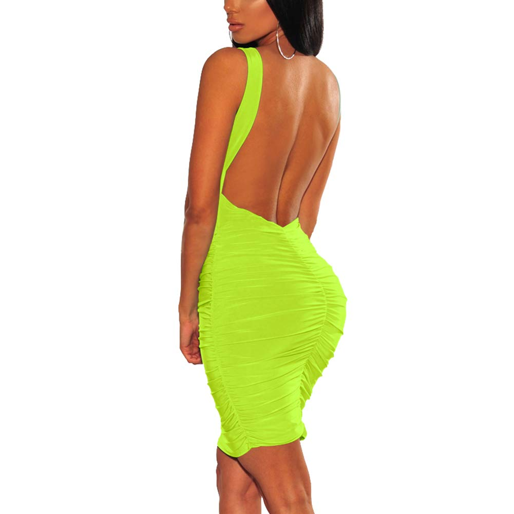 Available at Amazon: Antopmen Women Sexy Scoop Neck Sleeveless Solid Backless Ruched Bandage Dress Club