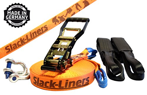 Slack-Liners 6 Teiliges Slackline-Set ORANGE - 50mm breit, 25m lang - mit Langhebelratsche Made in Germany