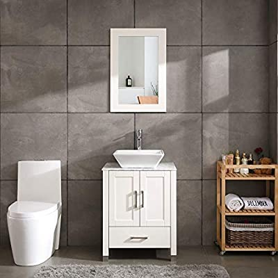 "24"" White Bathroom Vanity Cabinet and Sink Combo Modern Wood w/Mirror Tempered Glass/Marble Counter Top (Solid Wood + Marble Top)"