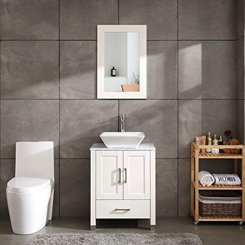 24' White Bathroom Vanity Cabinet and Sink Combo Modern Wood w/Mirror Tempered Glass/Marble Counter Top (Solid Wood + Marble Top)