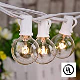 Afirst Outdoor String Lights 25Ft Patio String Lights with 25 Edison Bulbs UL Listed Incandescent String Lights Garden/Backyard Party/Wedding Indoor String Lights-White Cord