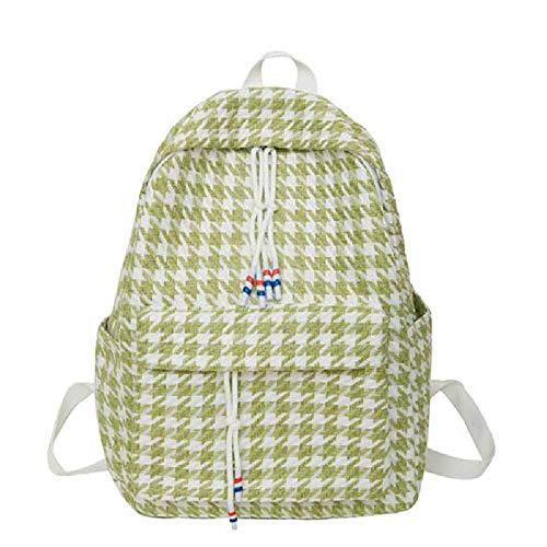 NUOLAN Lattice School Backpack Girl's Schoolbag Women Backpack Female Simple Canvas Laptop Bag Shoulder Bag Travel Bag 1PCS/green