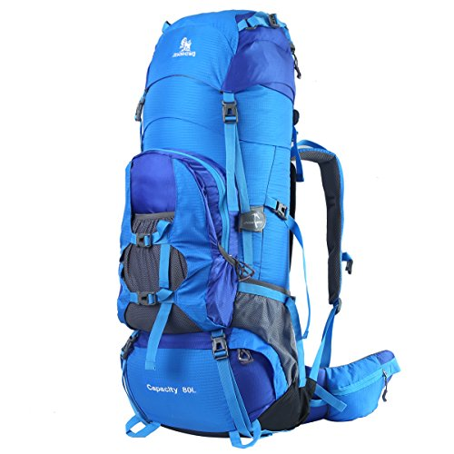 HWJIANFENG Trekkingrucksack Wanderrucksack Reiserucksack - XXL Kapazität 80L - Ultraleicht, strapzierfähig - Perfekt für Camping/Wandern/Bergsteigen/Reisen, Blau