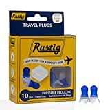 Rustig Pressure Reducing Silicone Travel Ear Plugs with Travel Carrying Case - Up to 23 Decibel Hearing Protection (10 Pair), Reusable and Hand Washable