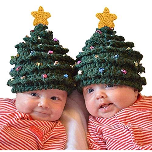 LOPILY Mütze Baby Weihnachtsbaum Strickmütze für Kinder Lustig Weihnachten Dekoration Wintermütze für Weihnachten mit Golden Stern Bunte Kunst Perlen Weihnachtsmütze Mädchen Junge (Armeegrün)