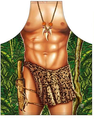 ITATI Delantal Hombre Parrilla Barbacoa Delantal de Cocina Antimanchas para Hombre, Modelo Tarzán, Medidas 75 x 58 cm