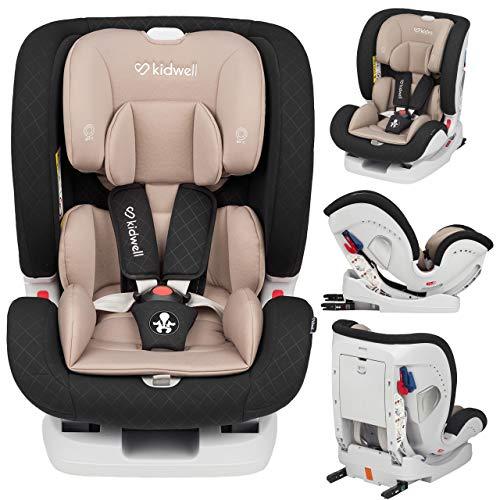 KIDWELL Autositz 0-36 kg | 0-12 Jahren | Gruppe 0+ / 1/2 / 3 | Kindersitz mit 5-Punkt-Gurtsystem & Isofix ECE R44/04 | verstellbare Kopfstütze und Rückenlehne | stabil & sicher | Schwarz-Beige