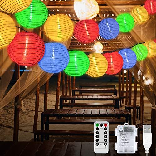 Molbory 20er LED Lampion Lichterkette Außen, LED Laternen Lichter mit 8 Modi & Timer, Laterne Beleuchtung Aussen, Lichterketten Lampion Wasserdicht für Garten,Balkon,Hof,Hochzeit,Fest Deko (Bunt)