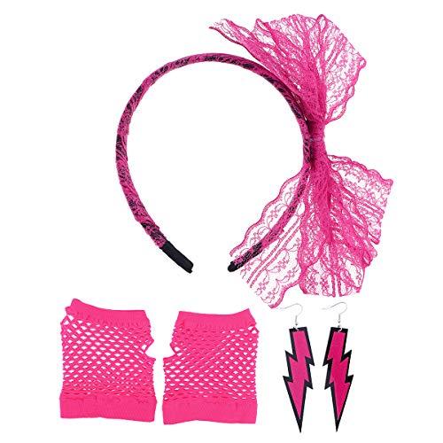 Toyvian 80er Jahre Kostüm Sets Spitzen Stirnband Neon Ohrringe Fingerlose Netzhandschuhe für 80er Jahre Party Zubehör (Rosy)