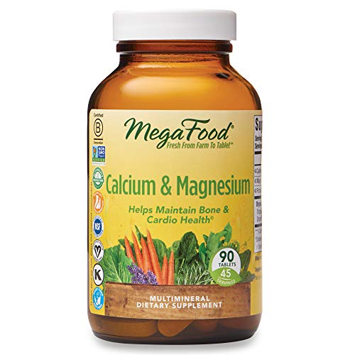 MegaFood, Calcium & Magnesium, Helps Maintain Bone and Cardiovascular Health, Vitamin and Dietary Supplement Vegan, 90 Tablets (45 Servings) (FFP)