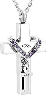 MEMORIALU Cross Urn Necklaces for Ashes Dad Cremation Keepsake Memorial Pendant Necklace
