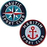 Club of Heroes Set 2 x Maritim + Nautik Patch 62 mm gestickt/Aufbügler Aufnäher Flicken...