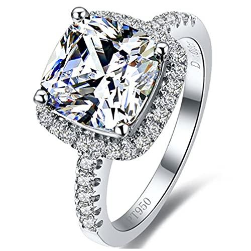 Anillo de compromiso de 9 x 9 mm con corte de cojín para mujer, anillo de diamante NSCD de plata de ley y chapado en oro blanco, estrás,