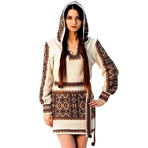 Größe M, Handgemachte gestrickte Vyshyvanka ethnischen böhmischen Kleid Tunika Boho Frau Stil Leinen 100%
