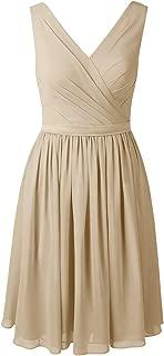 Alicepub V-Neck Chiffon Bridesmaid Dress Short Party Cocktail Homecoming Dress Sleeveless