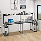 Double Workstation Desk 2 Person Computer Desk with Storage, Spacious Tabletop, Multifunction Writing Desk with Shelf, Wooden Rustic Home Office Desk Standing Writing Desk Table for 2 Persons (Black)