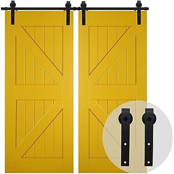 FIXKIT 12.0Ft 366cm Herraje para Dos Puertas Suspendidas de Madera ...