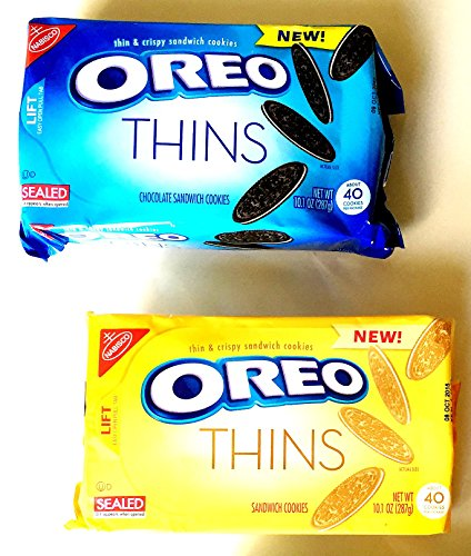 Oreo Thins, NEW! Variety 4 Pack + FREE 19 oz. Beverage Bottle: 2 Packs of ORIGINAL CLASSIC, 2 Packs of GOLDEN. The Oreo You Love…Now Thinner!