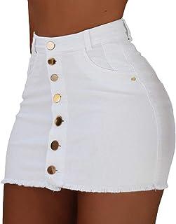 WanYangg Gonne Jeans Corte,Minigonna con Bottoni Elasticizzata Vita Alta Gonnellina di Jeans Bimba Colore Solido Slim A-Li...
