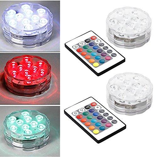 LED Unterwasserbeleuchtung , AGM 2 Stück LED Untersetzer RGB Farbwechsel Unterwasserlicht mit Fernbedienung für Hochzeit Party Vase Deko(Durchmesser: 70mm, Höhe: 28mm)