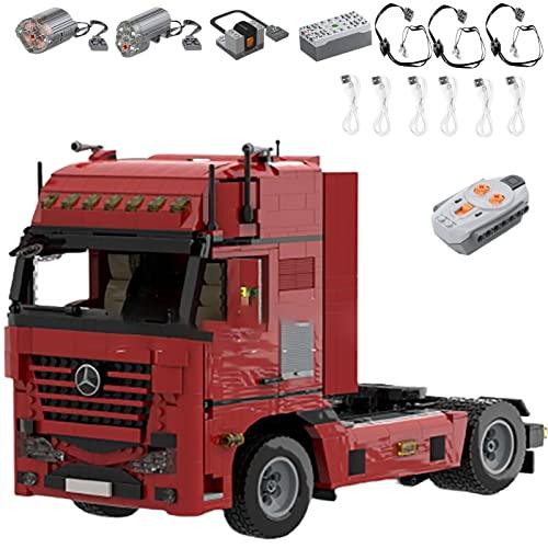 Technology Kit Bloques Construcción para Camiones 4 × 2 con Control Remoto, Bloques Terminales 1774 Camión con Control Remoto 2.4G Con Motores, Compatible con Cabeza de Remolque Lego G