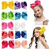 DEEKA 10 PCS Multi-colored 8' Hand-made Grosgrain Ribbon Hair Bow Alligator Clips Hair Accessories for Little Girls